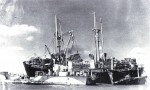 Discarging cargo from HELENA MODJESKA, after she ran ashore on the Goodwin Sands 12 September 1946
